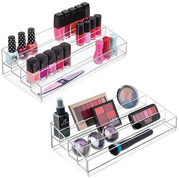 df319f32b mDesign Organizador de maquillaje ? Caja transparente con 4 compartimentos  - Ideal para guardar maquillaje y