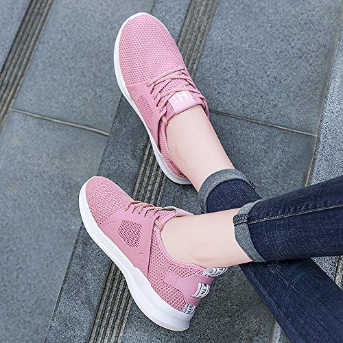 da corsa rosa traspirante casual scarpe donna a rete da Student scarpe scarpe estate Light GTVERNH piatto jogging comfort fondo fSZfA