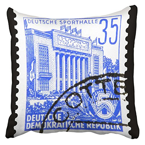 Emvency Decorative Throw Pillow Covers Cases GDR Circa 1953 Stamp Printed in German Democratic Republic East Germany Shows Sports Hall 16x16 inches Pillowcases Case Cover Cushion Two Sided