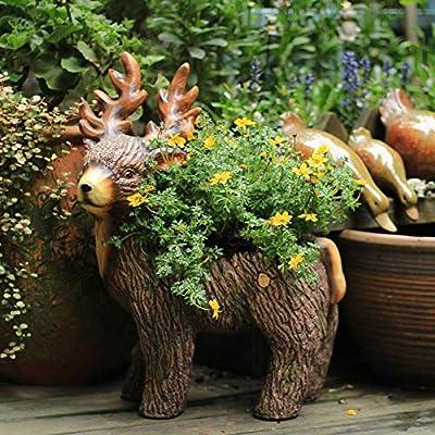 Escultura De Jardín Escultura de óxido de magnesio Elk Maceta animal del jardín Decoración del ornamento del arte del estilo americano Campo interior o de exterior Decoración De Patio De Jardín Al