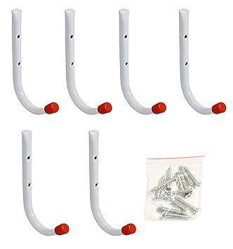 """Set of 6 Metal Garage Wall Hooks, 7"""" Long Garage Wall Hangers,  Multipurpose"""
