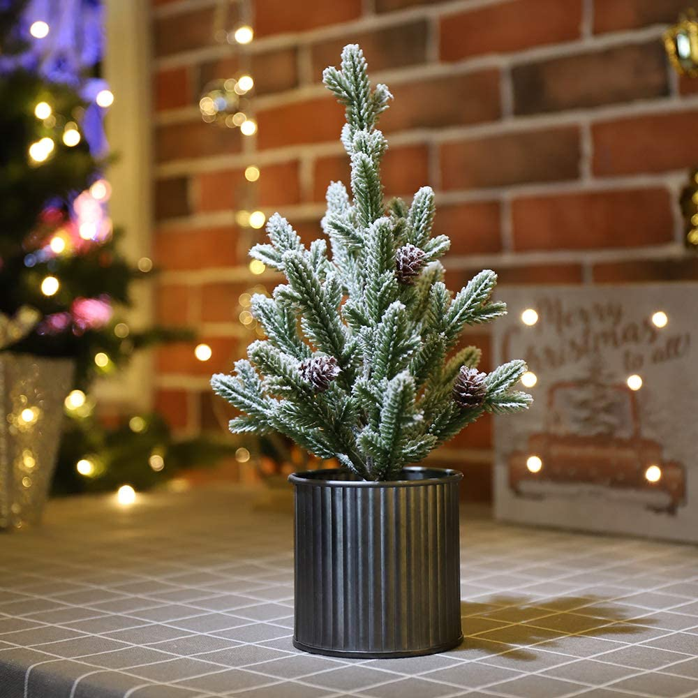 N/H Emadgift Pine Artificial Mini Christmas Tree with Metal Bucket Base 11 Inch Includes Pinecone for Christmas Tabletop Decor and Indoor Decor