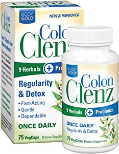 BodyGold Colon Clenz Regularity & Detox Formula | Once Daily Support with 9 Herbs + Active Probiotics | 75 CT