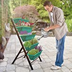 """4-Ft Raised Garden Bed - Vertical Garden Freestanding Elevated Planters 5 Container Boxes - Good Patio Balcony Indoor Outdoor - Cascading Water Drainage to Grow Vegetables Herbs Flowers 9 ✓ EASY TO ASSEMBLE w/ CASCADING DRAINAGE SYSTEM - with easy to follow instructions included, assembly of your vertical garden will be quick and simple. The drainage system lets water flow from the top down to each succeeding row to ensure all plants are adequately watered and no stagnant water remains. ✓ PERFECT TIGHT SPACE SOLUTION - Each hanging plastic box container is 24"""". Provides adequate room for your plants without wasting any precious space in a small apartment, patio, balcony, yard, deck, front porch or any outside area. Grow a variety of herbs, seeds, flowers, succulents or vegetables in just a single area at home. ✓ MODERN ERGONOMICALLY DESIGNED & AESTHETICALLY PLEASING - if you are unable to enjoy gardening due to hip and back issues, this is the product you are looking for. Farmhouse has never been this easy; especially for seniors . Add a unique beauty and style unlike any other to your deck, patio or yard!"""