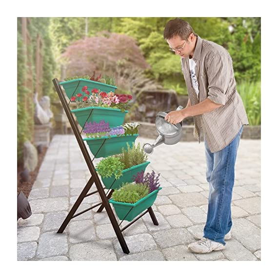 """4-Ft Raised Garden Bed - Vertical Garden Freestanding Elevated Planters 5 Container Boxes - Good Patio Balcony Indoor Outdoor - Cascading Water Drainage to Grow Vegetables Herbs Flowers 2 ✓ EASY TO ASSEMBLE w/ CASCADING DRAINAGE SYSTEM - with easy to follow instructions included, assembly of your vertical garden will be quick and simple. The drainage system lets water flow from the top down to each succeeding row to ensure all plants are adequately watered and no stagnant water remains. ✓ PERFECT TIGHT SPACE SOLUTION - Each hanging plastic box container is 24"""". Provides adequate room for your plants without wasting any precious space in a small apartment, patio, balcony, yard, deck, front porch or any outside area. Grow a variety of herbs, seeds, flowers, succulents or vegetables in just a single area at home. ✓ MODERN ERGONOMICALLY DESIGNED & AESTHETICALLY PLEASING - if you are unable to enjoy gardening due to hip and back issues, this is the product you are looking for. Farmhouse has never been this easy; especially for seniors . Add a unique beauty and style unlike any other to your deck, patio or yard!"""