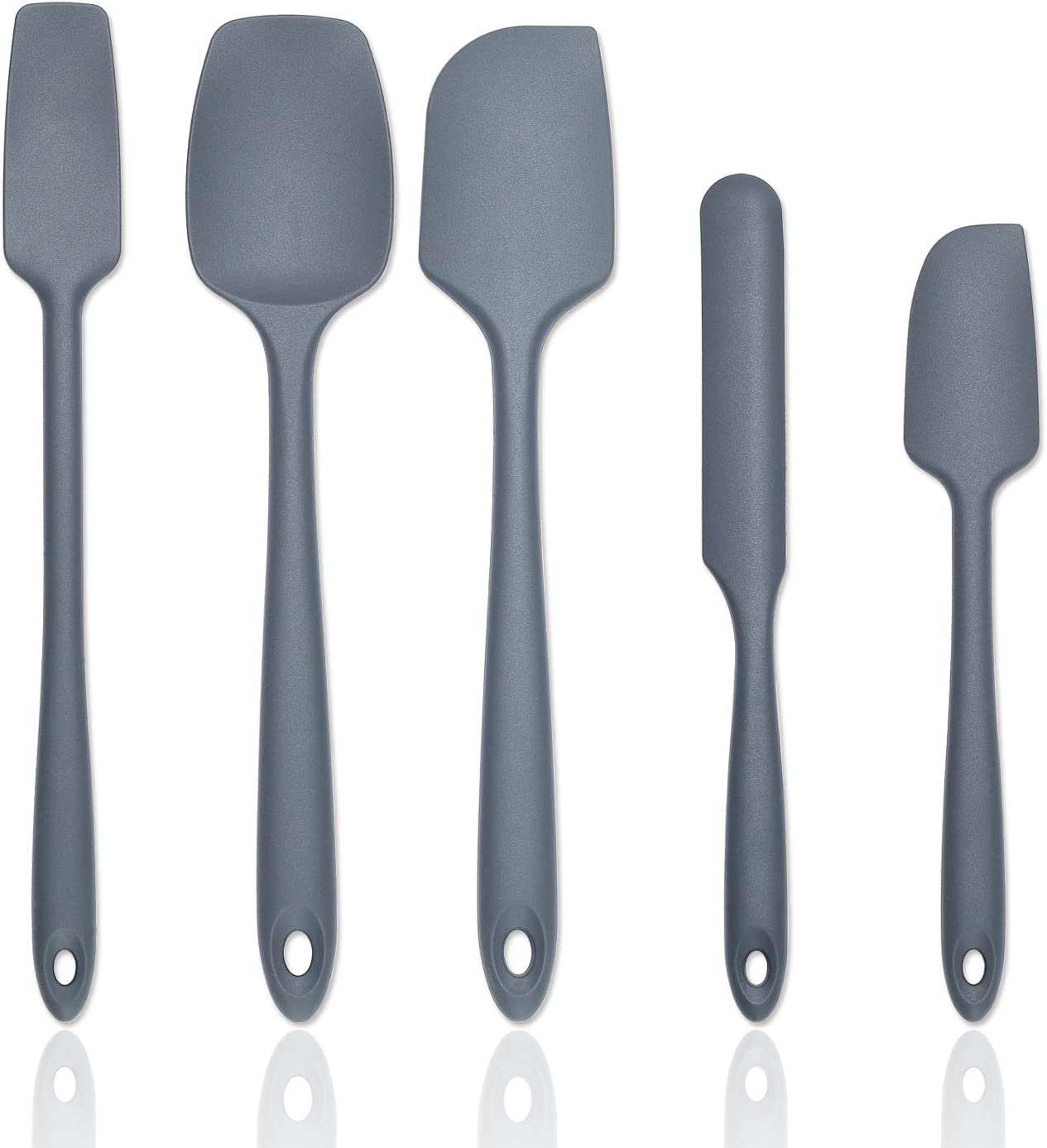 Silicone Spatula Set (Set Of 5) - Kitchen Spatulas Silicone Heat Resistant Rubber Spatula Set With Strong Stainless Steel Core Inside And Food Grade Silicone For Cooking, Baking, And Mixing