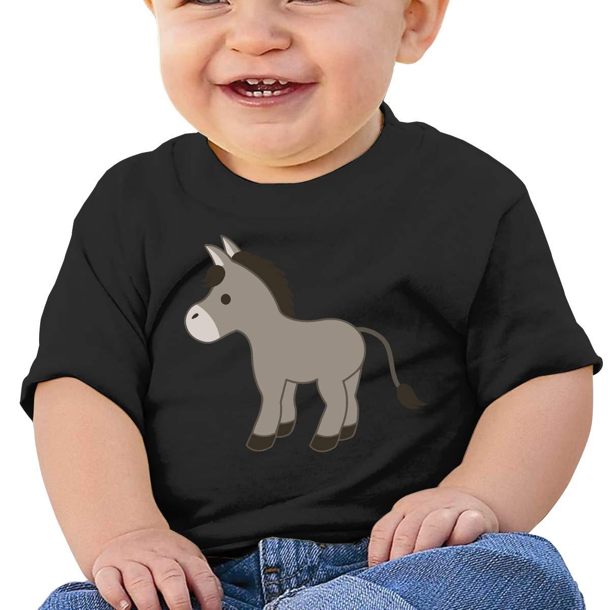 ZUGFGF-S3 Cartoon Donkey Newborn Baby Newborn Short Sleeve Tee Shirt 6-24 Month Cotton Tops