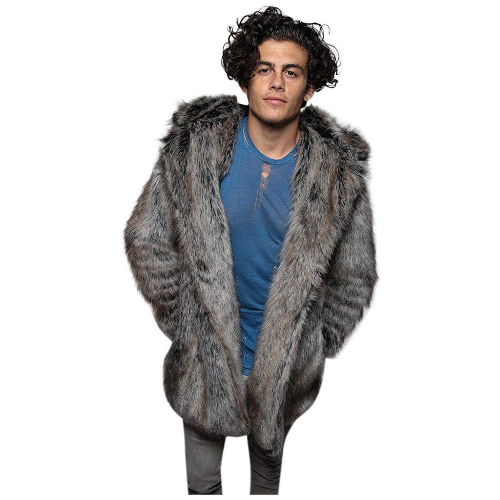 Stoota Mens Long Sleeve Fluffy Faux Fur Winter Warm Overcoat Long Thicken Soft Jacket Outerwear