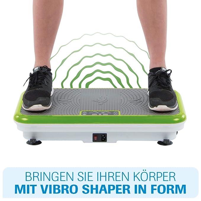 Vibro Shaper mit Griff gr/ün Vibrationsplatte Ganzk/örper Trainingsger/ät Rutschfest gro/ße Fl/äche inkl Trainingsb/änder Ern/ährungsplan das Original von Mediashop