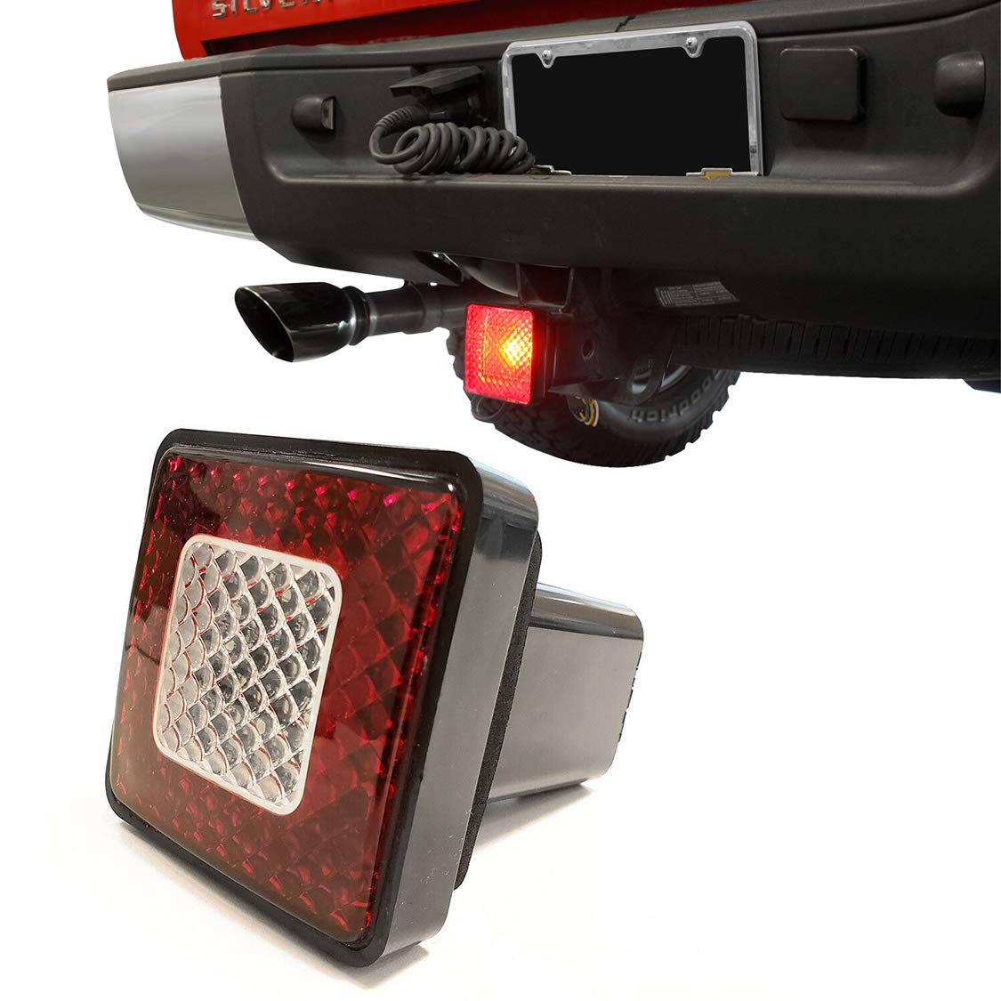 TC Sportline 3'' 80 LED Brake Driving Lamp with Reverse Light, Truck SUV Trailer Towing Hitch Receiver Cover for 2'' Class III Hitch by TC Sportline