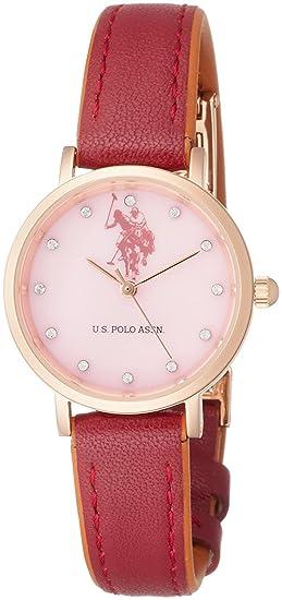 U.S.POLO ASSN Reloj de cuarzo para mujer, esfera de color rosa, color rojo