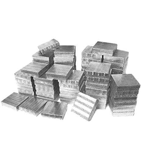 Amazoncom Cotton Filled Jewelry Gift Boxes Silver Color 3 12 50Pcs