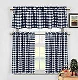 Duck River Textiles KINGSTON 12221D=12 3 Piece Checks Kitchen Curtain Set, Navy