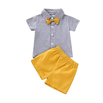 2f79f8c5de5d Toddler Kids Baby Boys Summer Shorts Set Solid Color Bowtie Shorts Sleeves T -Shirt Tee