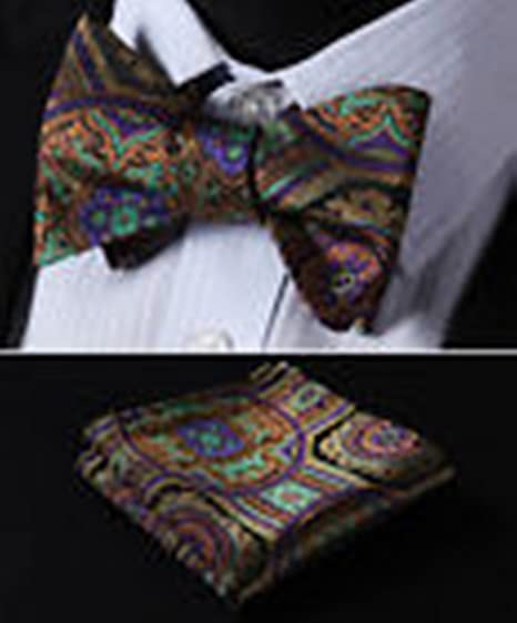 Mondaily DL425N Orange Green Floral Men Woven Silk Self Bow Tie Pocket Square Set #PPTE4647