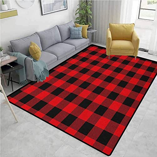 Indoor Outdoor Rug Plaid Lumberjack Fashion Buffalo Style Checks Pattern Retro Style with Grid Composition Extra Large Rug Scarlet Black