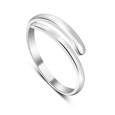 Silverly Women's .925 Sterling Silver Five Band Adjustable Polished Toe Ring efuRoYN
