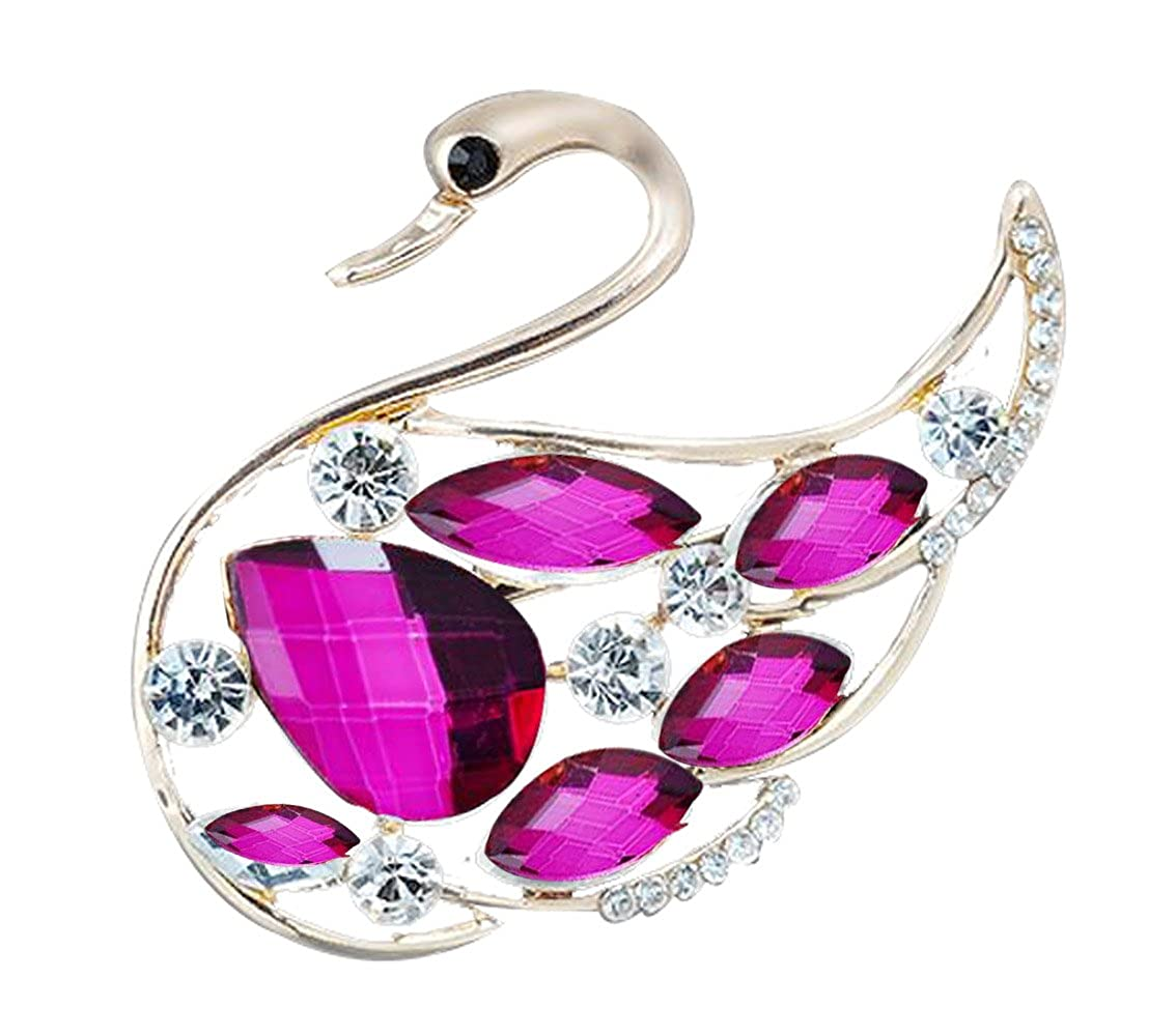 Sojewe Fashion Women Jewelry Temperament Grade Purple Red Crystal Swan Drop Clear Rhinestone Corsage//Brooch Pin Tone Bouquet Wedding Friendly for Teen Girl,Girlfriend