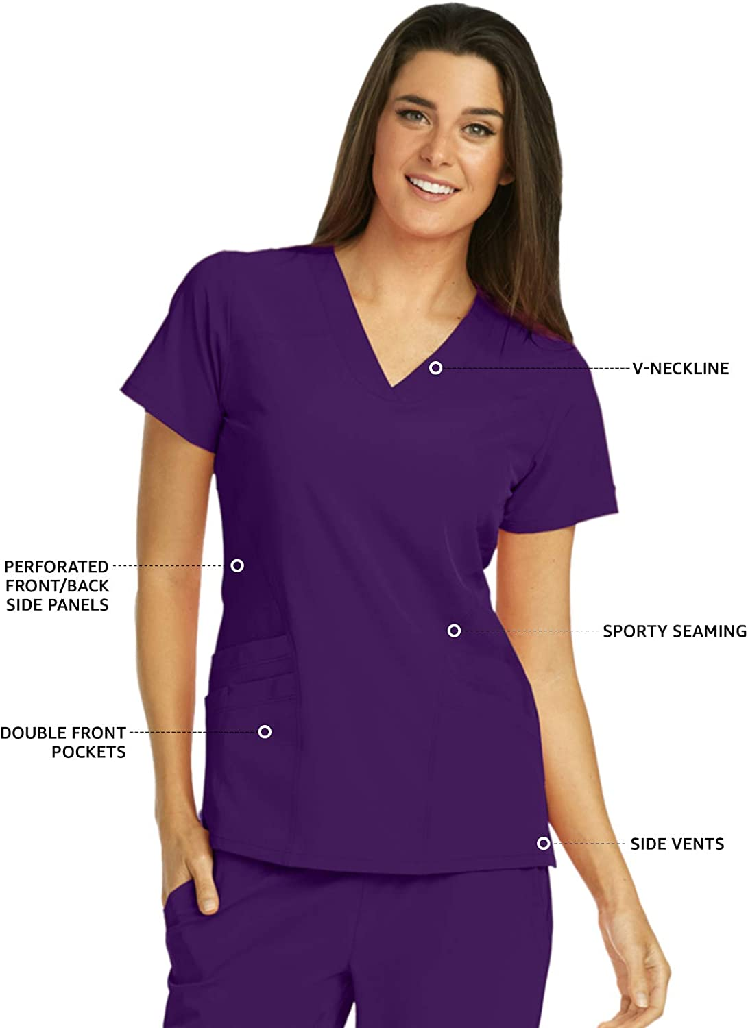 Barco ONE 5-Pocket V-Neck Top for Women 4-Way Stretch Medical Scrub Top