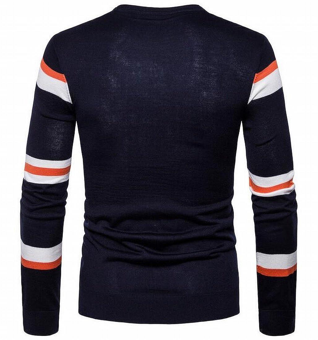 WANSHIYISHE-Men Fashion Striped Contrast Round Neck Long Sleeve Knit Sweater