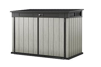 Armario de almacenamiento Keter Grande Store para 3 cubos de basura, bicicleta, cortadora de