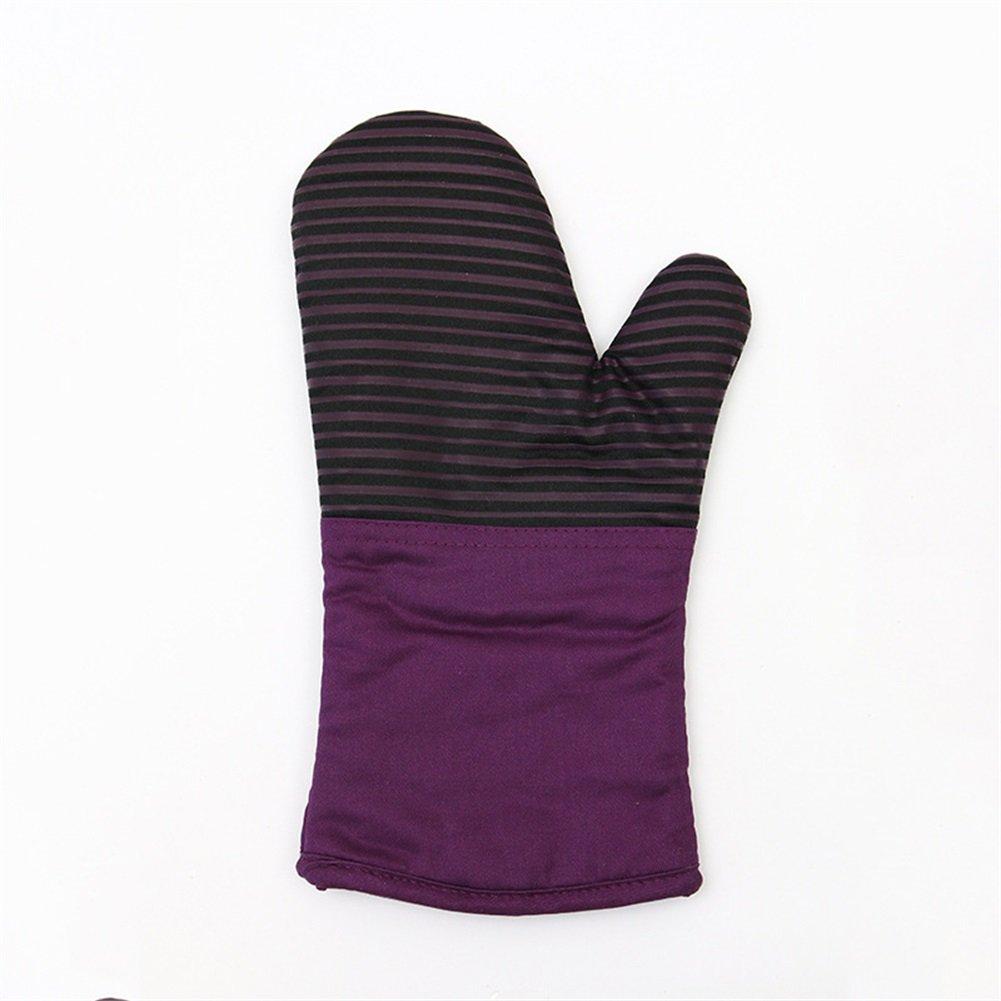 Henseコットン電子レンジBBQオーブンBakingグリルポット耐熱手袋、高耐熱性キッチン料理、厚いテリー布で、ライニング( hsw-062 ) パープル HSW-062-003 B06X41XR28  パープル