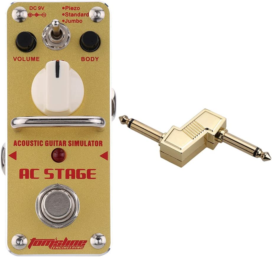 """AROMA AAS-3 AC Stage Acoustic Guitar Simulator Guitar Effect Pedal with 1/4"""" Plug Zinc Alloy Connector"""