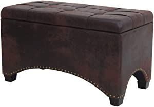 Nost & Host 30'' Rectangle Ottoman with Storage and Hinged Lid Vintage FauxLeather Rectangular Ottoman Coffee Table Solid Wood Cocktail Ottoman Bench with Button Tufted Top Foot Rest Stool, Brown