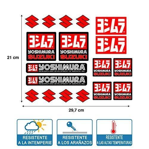 AUTOCOLLANT ADHÉSIF YOSHIMURA SUZUKI IMPRESSION DE HAUTE QUALITÉ ET Laminé PROTECTEUR FEUILLE ( 29 cm x 21 cm ) 18 unités DE STICKERS RACING
