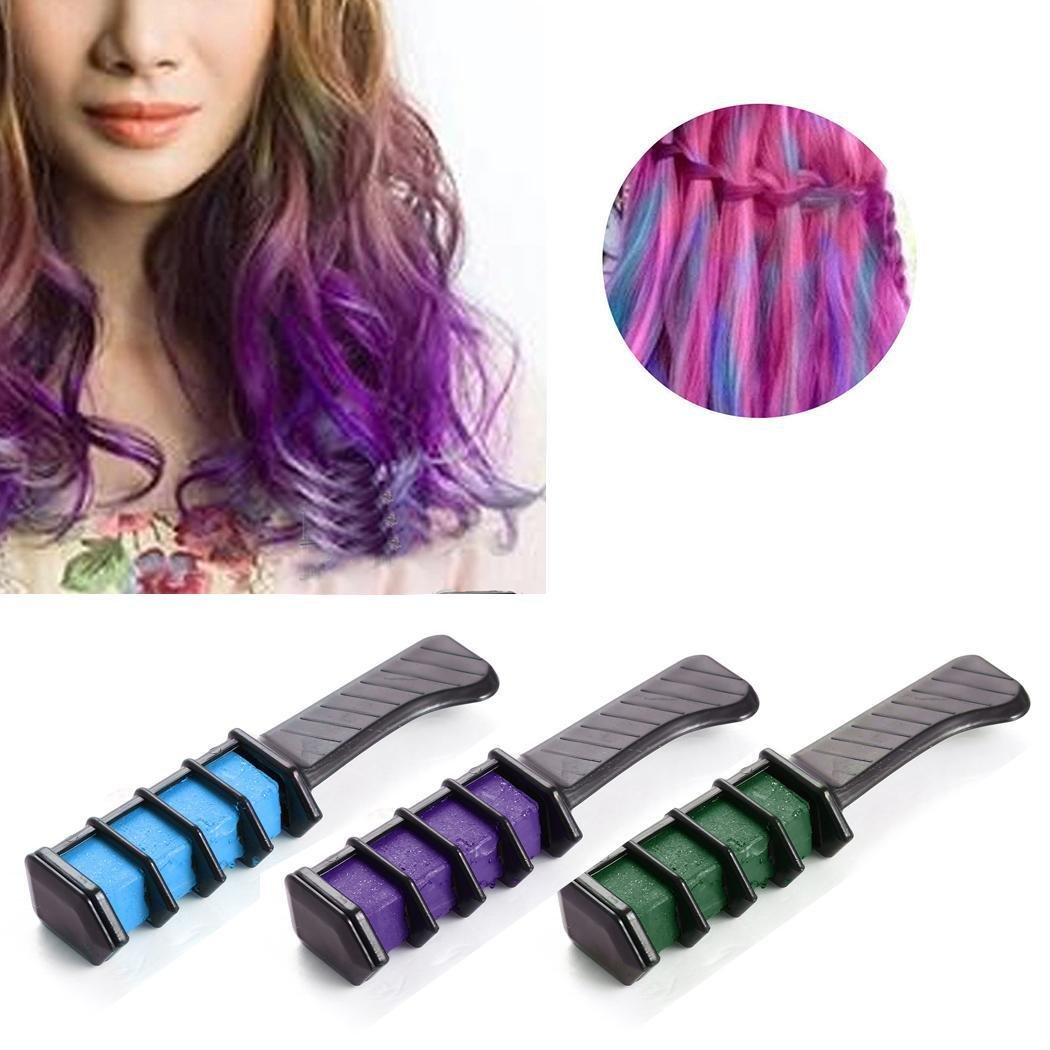 Hair Chalk Temporary Hair Color Comb Dye Salon Kit for Party Club Cosplay Eroihe