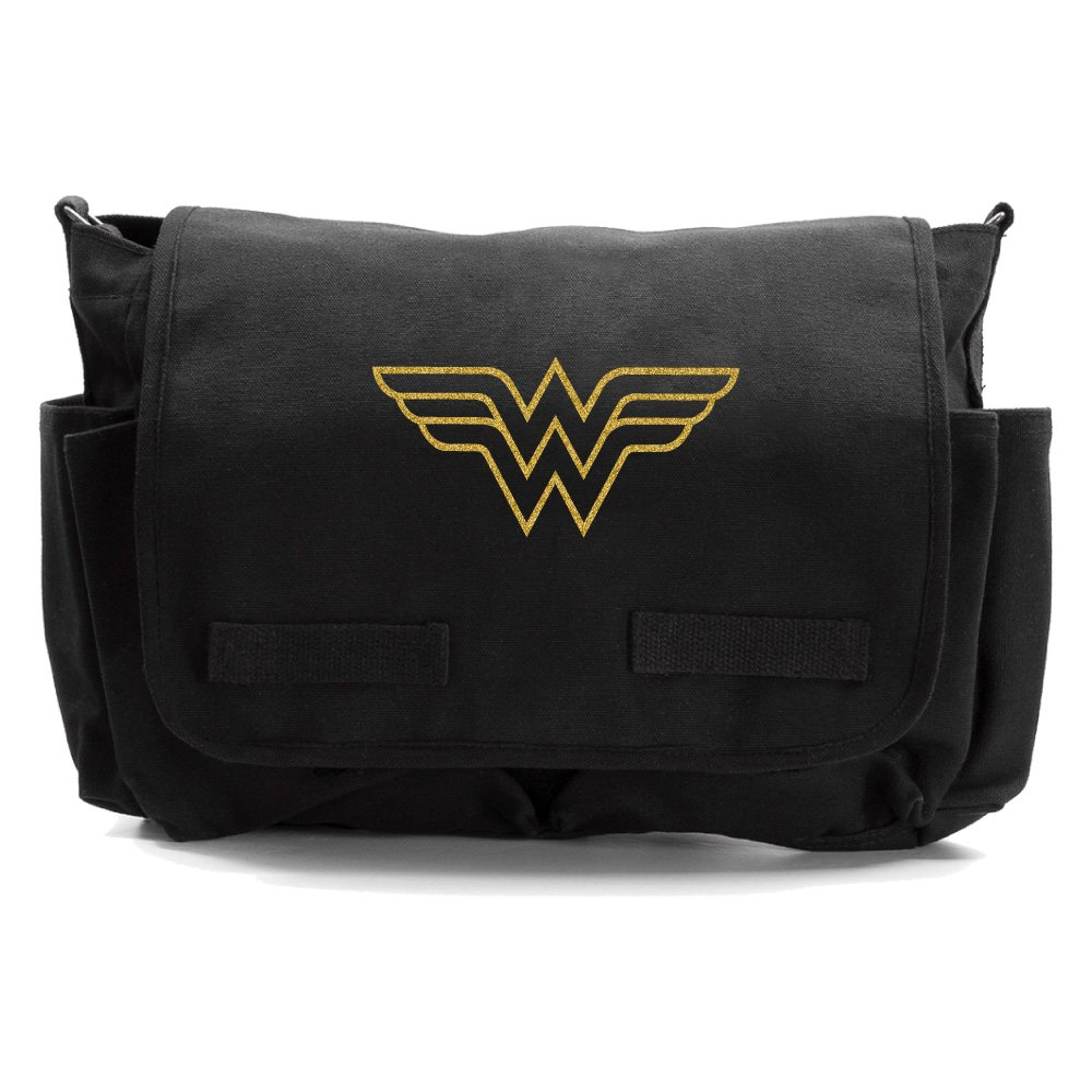 Wonder Woman Symbol Army Heavyweight Canvas Messenger Shoulder Bag in Black & Gold