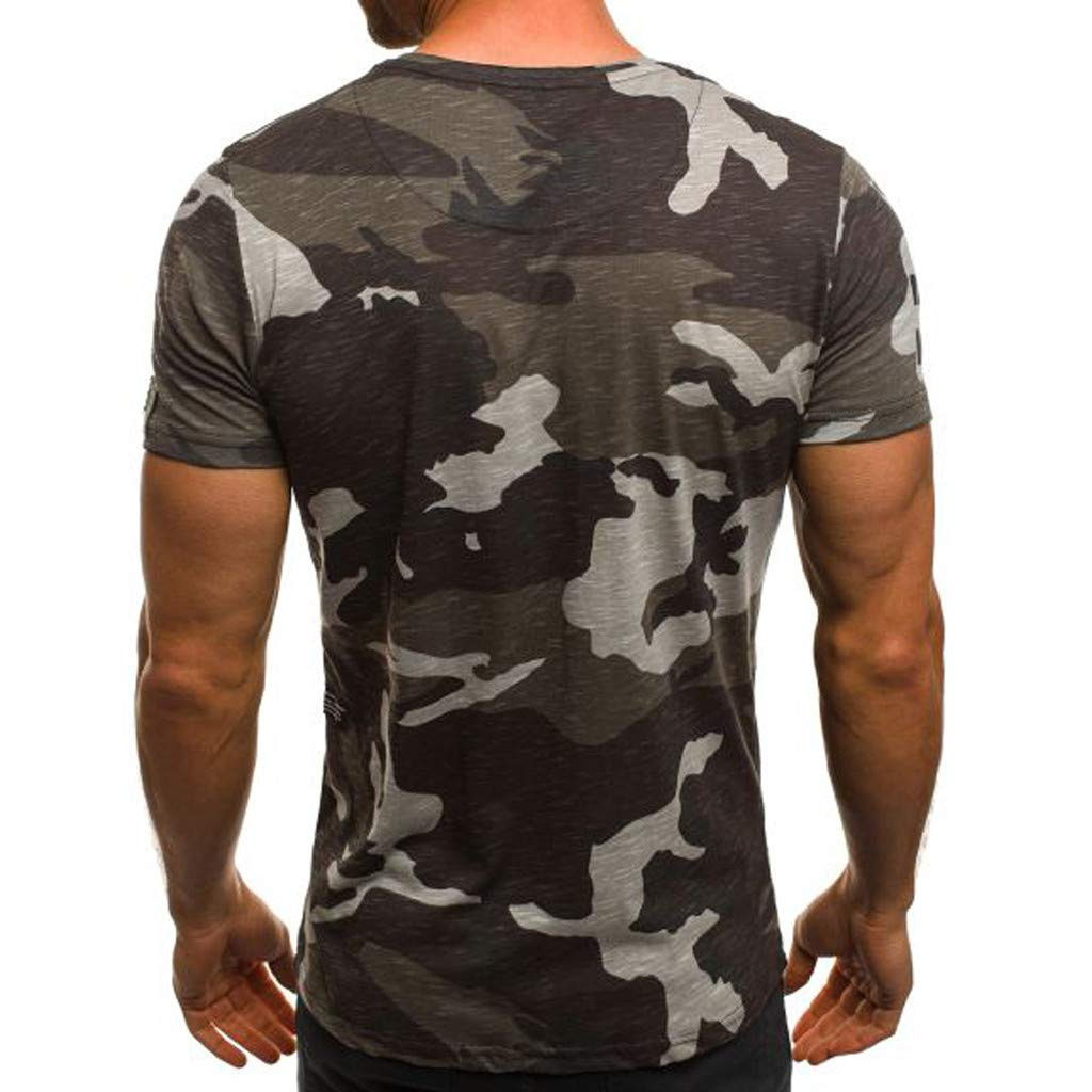 Mens T Shirt Mens Top Fashion Camouflage O-Neck Short Sleeve Summer T-Shirt Pullover Blouse