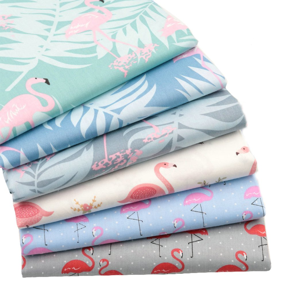 6 Pcs Multi Color Flamingo 100% Cotton Print Fabric Fat Quarter Bundle 46cm x 56cm ( Approx 18 x 22) Patchwork Sewing Quilting Fabric Hanjunzhao Factory 4336995639