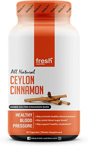 Ceylon Cinnamon Capsules - Blood Pressure Formula Containing Cinnamon Bark Powder Advanced Blood Pressure Support Complex - Hawthorn Extract - Berberine HCI - Chromium Picolinate Vitamin D3