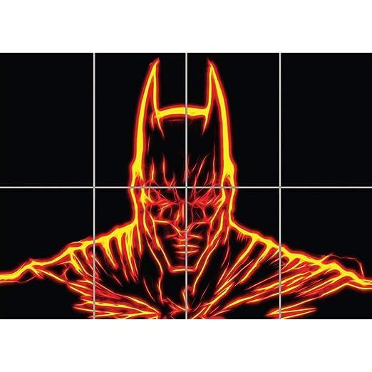 FRACTAL LIGHT ART BATMAN ORANGE GIANT WALL ART PRINT PICTURE ...