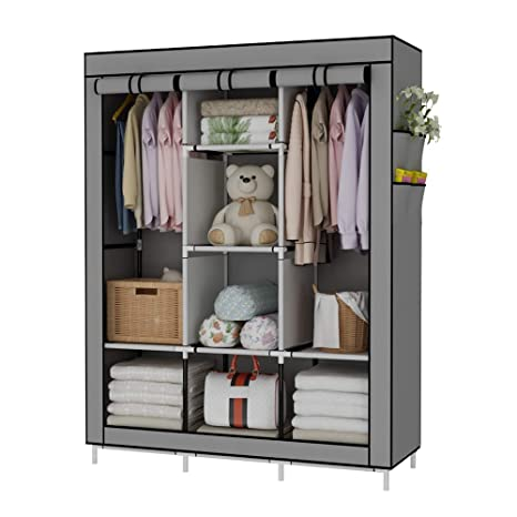 White UDEAR Double Hanger Wardrobe Non-Woven Fabric Clothes Storage Organiser Cabinet