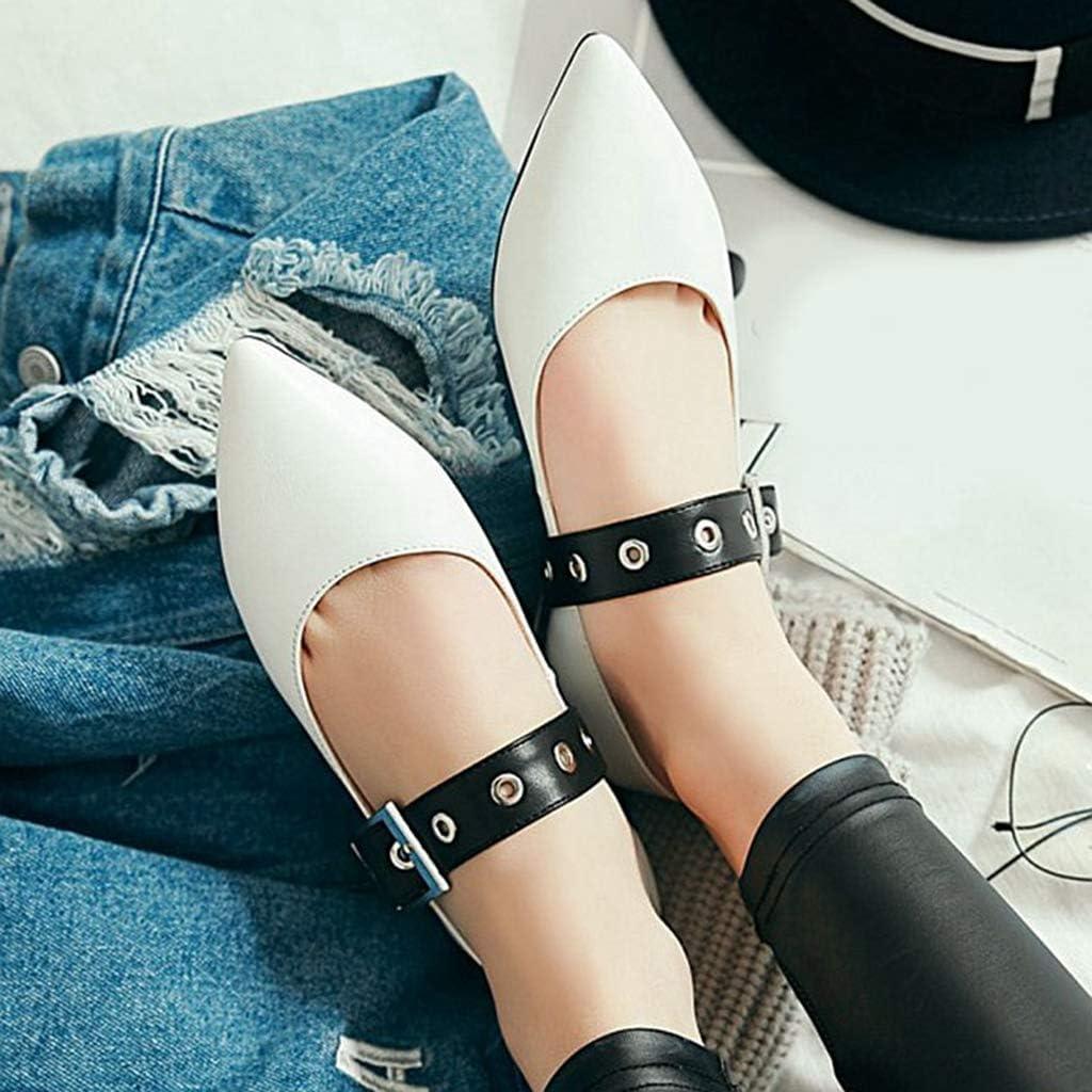Bonrise Womens Point Toe Ballet Flats Shoe Buckle Slip On Walking Flat Pumps Dress Shoes White