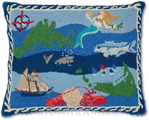 Nantucket Throw Pillow (Handmade 100% Wool Decorative Maritime Cape Cod Ocean Sailboat Mermaid Fish Nantucket Martha's Vineyard Nautical Hooked Throw Pillow. 16