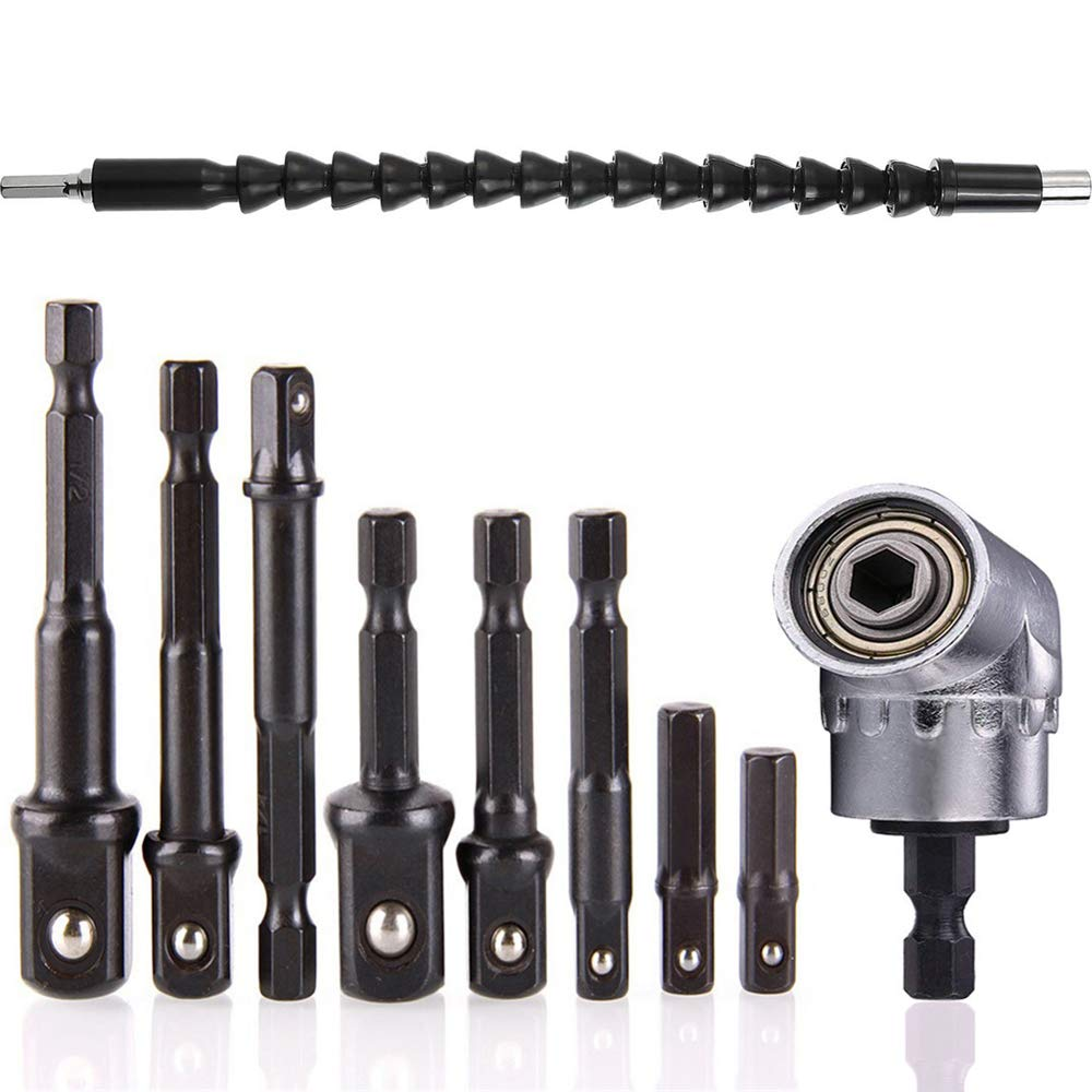 """105 Right Angle Drill Adapter Flexible Shaft Extension Socket Set Hex 1//4/"""""""