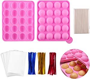 Silicone Cake Pop Model 20 Cavity Baking model For Candy Chocolate Lollipop Dessert Cupcake Cooker With 100 Cake Pop Sticks+100 Treat Bags+ 100 Twist Ties In Mix Colors