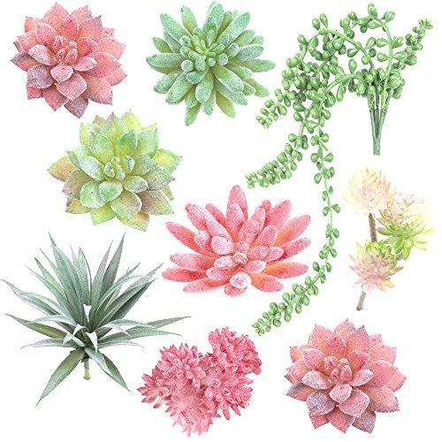 Fake Succulent Plants - Set of 9 Artificial Succulent Plants - Mixed Colors - Fake Plants for Decoration