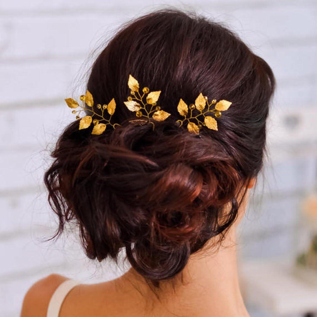 aukmla novia cristales horquillas diapositivas accesorios para el pelo de boda de hojas para novia y de dama, Hp-1(Pack de 3)