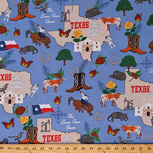 (Cotton State of Texas Map Flags Cowboys Rodeo Animals Armadillos Longhorn Western The Lone Star State Blue Cotton Fabric Print by The Yard (D515.04))
