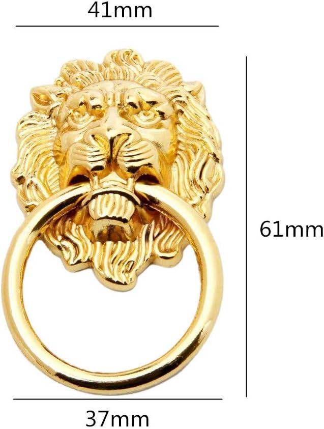 caj/ón de aleaci/ón de zinc dorado 52 x 90 x 53 mm estilo retro Small cabeza de le/ón antiguo cinc WOMAO Juego de 8 pomos para puerta de armario