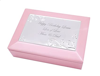 Personalised Pink Wooden Musical Jewellery Trinket Box Engraved Birthday Gift Enter Your Own Custom Text