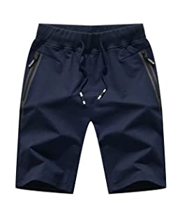 "Outmovern Mens 7"" Inseam Workout Shorts Elastic Waist Drawstring Summer Casual Short Pants Zipper Pockets Navy"
