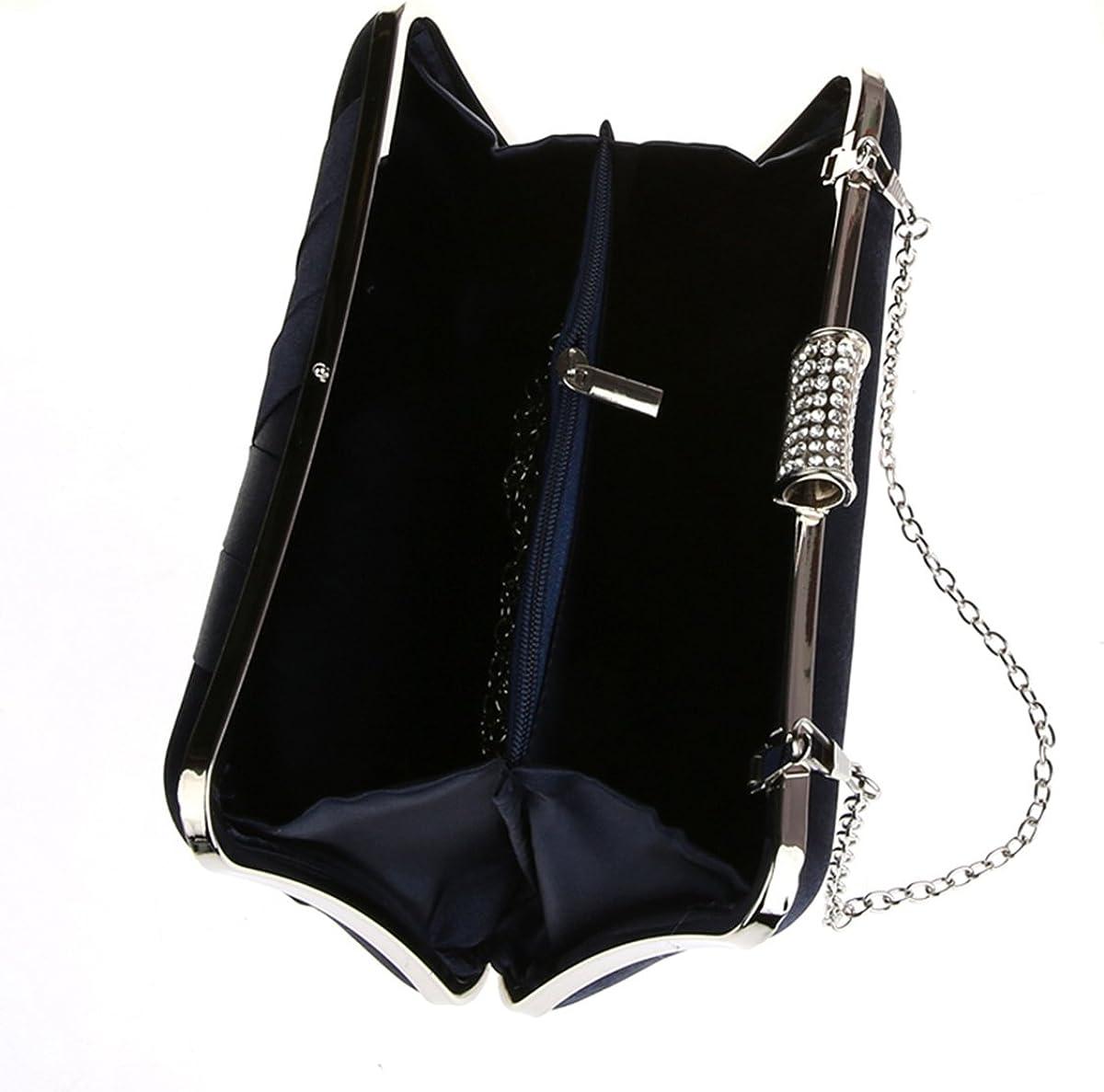 Simple Satin Evening Bag Banquet Party Clutch Navy Blue Handbag