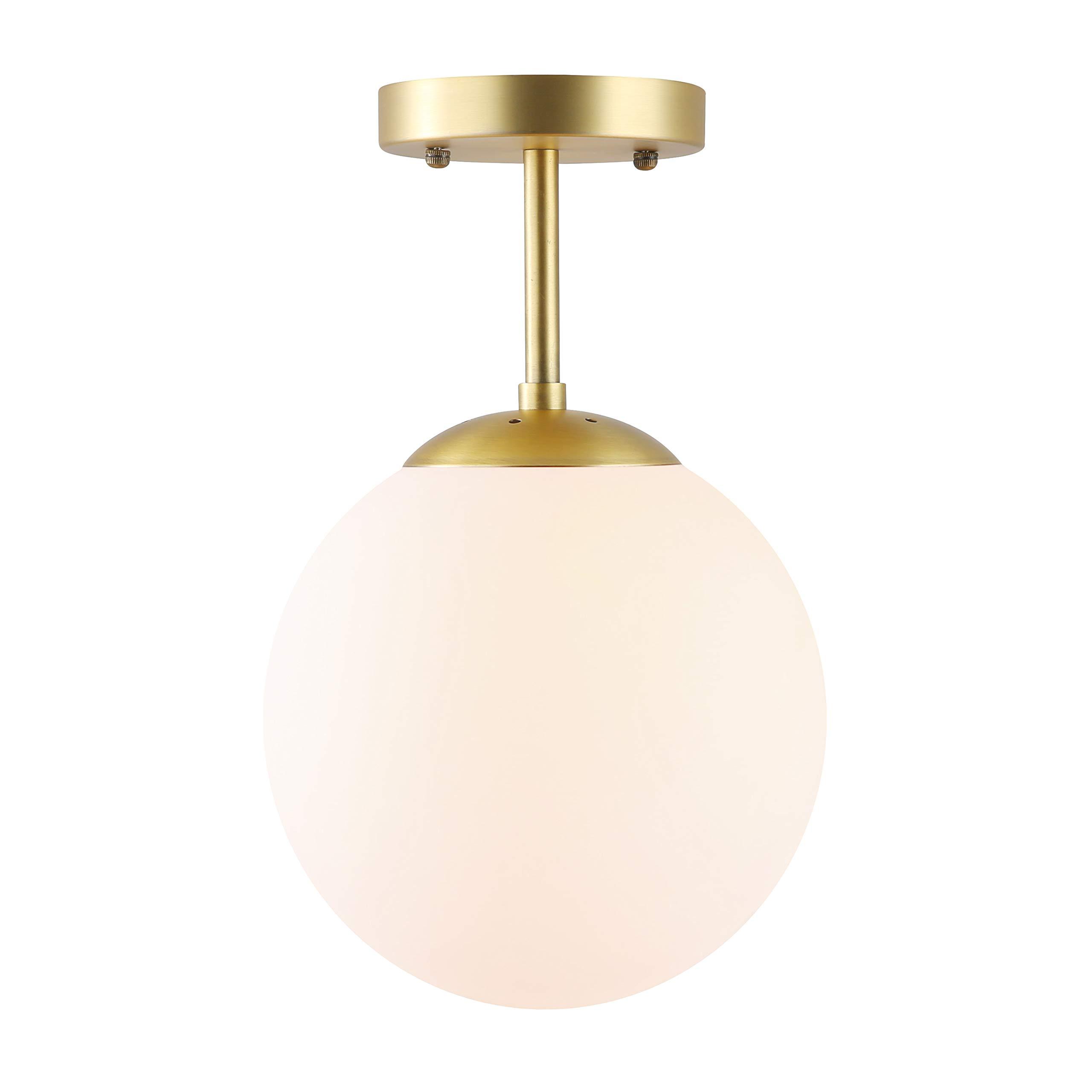 Light Society Tesler Globe Semi Flush Mount Ceiling Light, Matte White with Brass Finish, Contemporary Mid Century Modern Style Lighting Fixture (LS-C176-BRS-MLK)