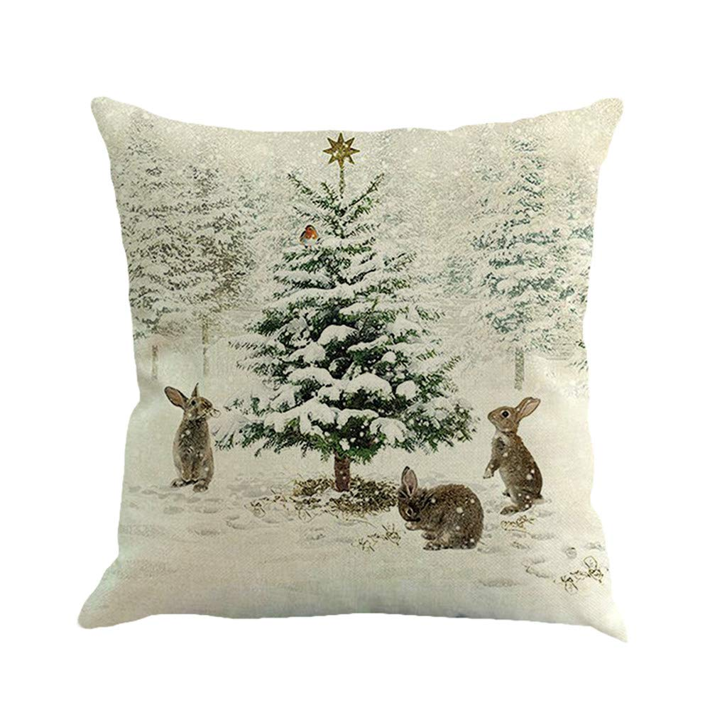 Funda de Almohada de Lino de algodón Impresión de Navidad ...