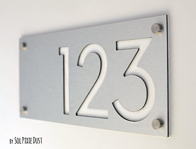 Modern House Numbers, Alucobond with White Acrylic - Contemporary Home  Address -Sign Plaque - Door Number